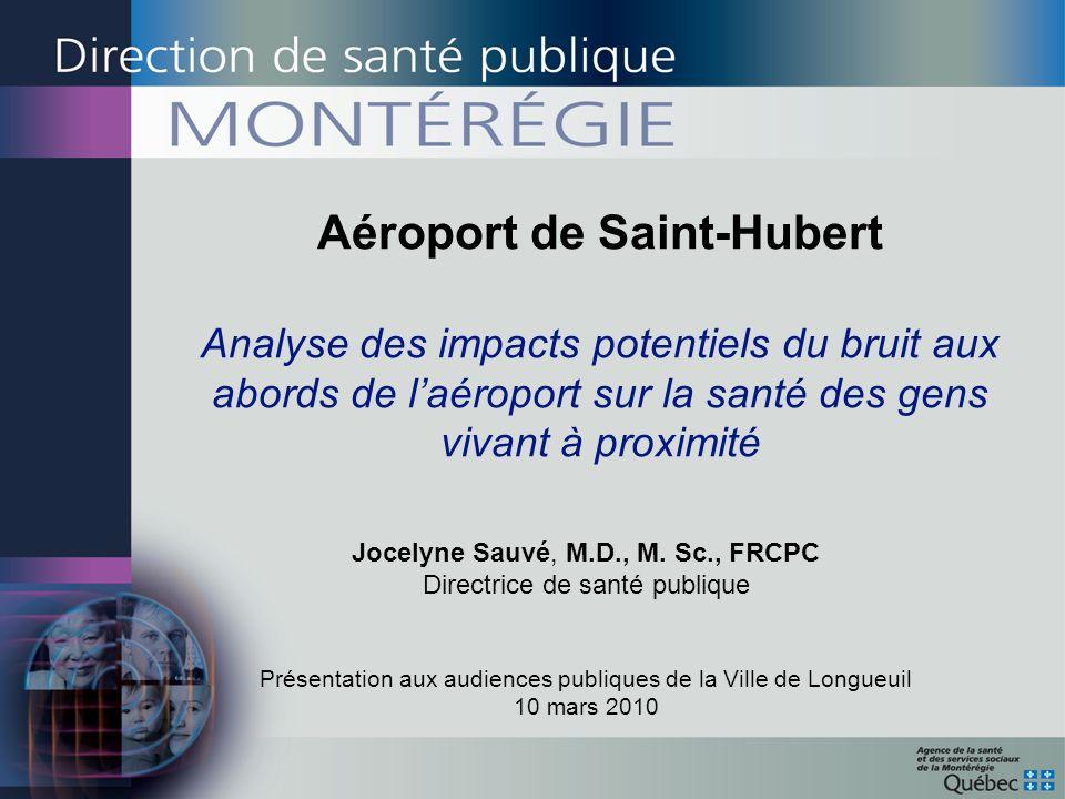 Aéroport de Saint-Hubert Analyse des impacts potentiels du bruit aux abords de laéroport sur la santé des gens vivant à proximité Jocelyne Sauvé, M.D.