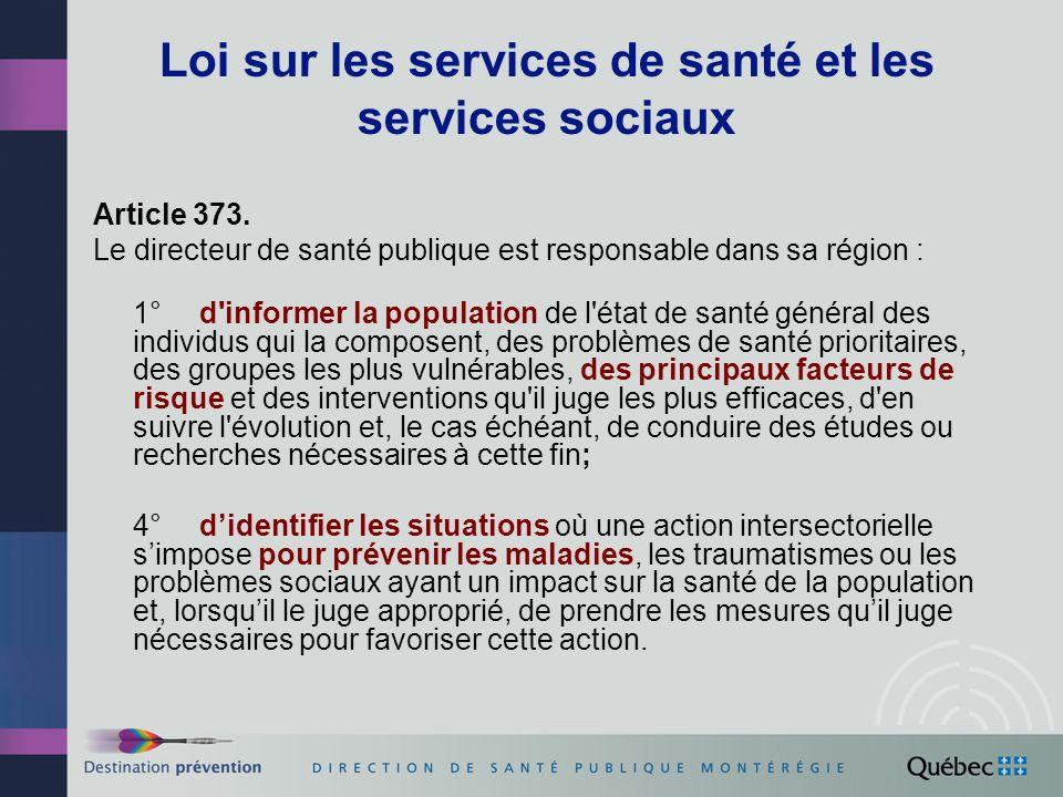 Loi sur les services de santé et les services sociaux Article 373. Le directeur de santé publique est responsable dans sa région : 1° d'informer la po