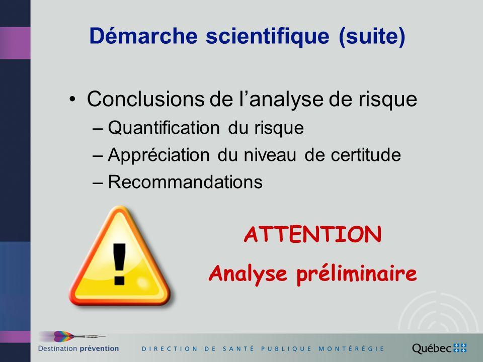 Démarche scientifique (suite) Conclusions de lanalyse de risque –Quantification du risque –Appréciation du niveau de certitude –Recommandations ATTENTION Analyse préliminaire
