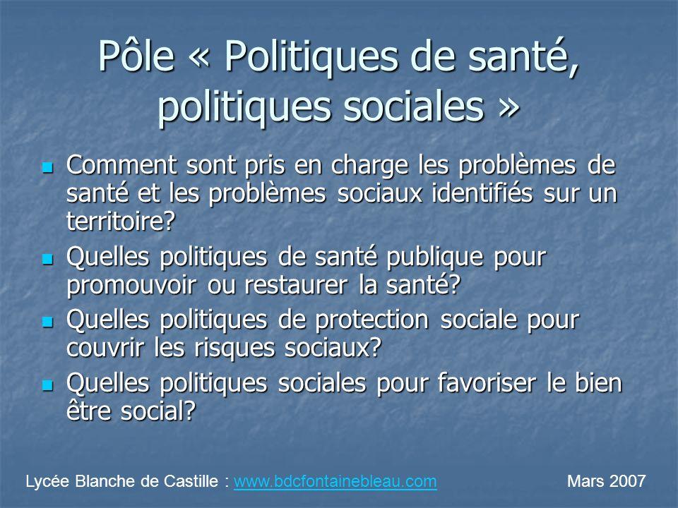 Pôle « Politiques de santé, politiques sociales » Comment sont pris en charge les problèmes de santé et les problèmes sociaux identifiés sur un territoire.