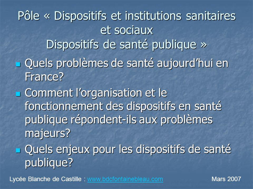 Pôle « Dispositifs et institutions sanitaires et sociaux Dispositifs de santé publique » Quels problèmes de santé aujourdhui en France? Quels problème