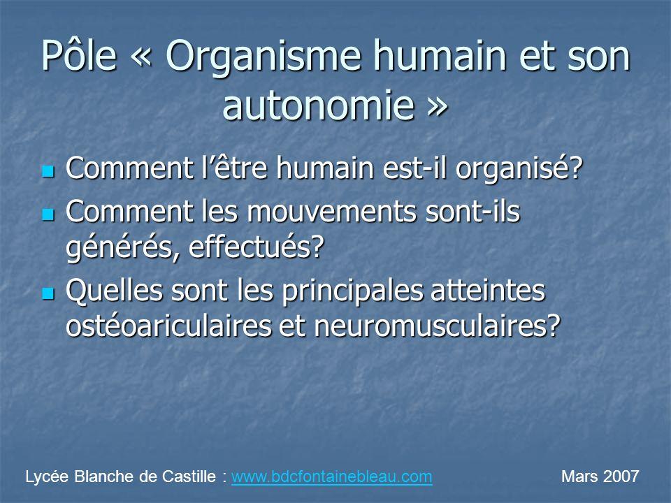 Pôle « Organisme humain et son autonomie » Comment lêtre humain est-il organisé? Comment lêtre humain est-il organisé? Comment les mouvements sont-ils