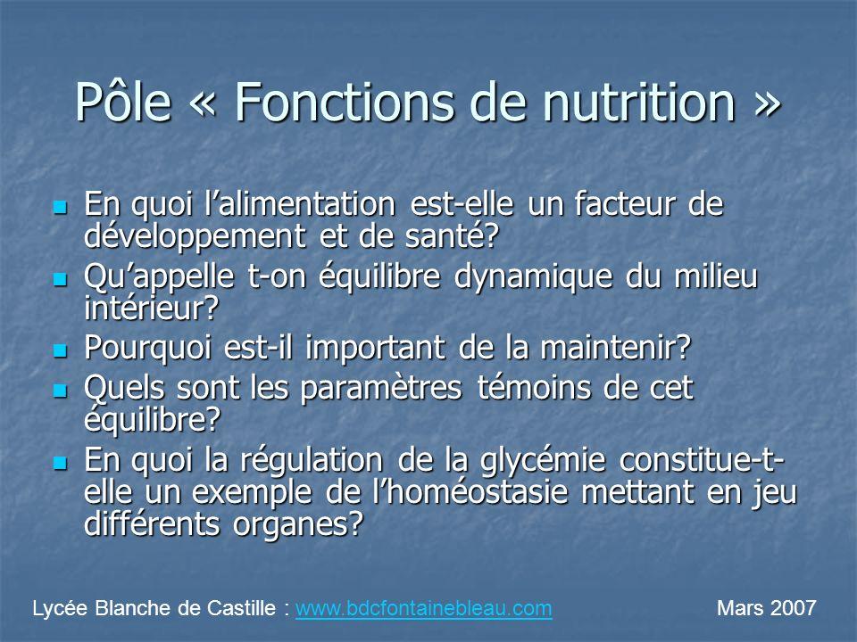 Pôle « Fonctions de nutrition » En quoi lalimentation est-elle un facteur de développement et de santé? En quoi lalimentation est-elle un facteur de d