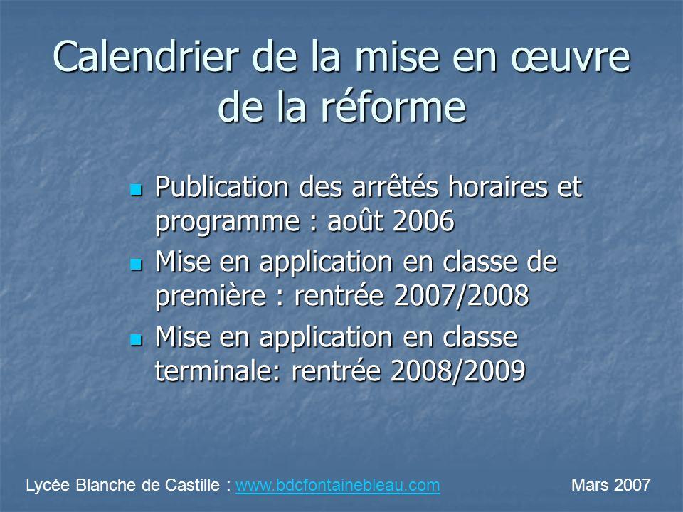 Calendrier de la mise en œuvre de la réforme Publication des arrêtés horaires et programme : août 2006 Publication des arrêtés horaires et programme :