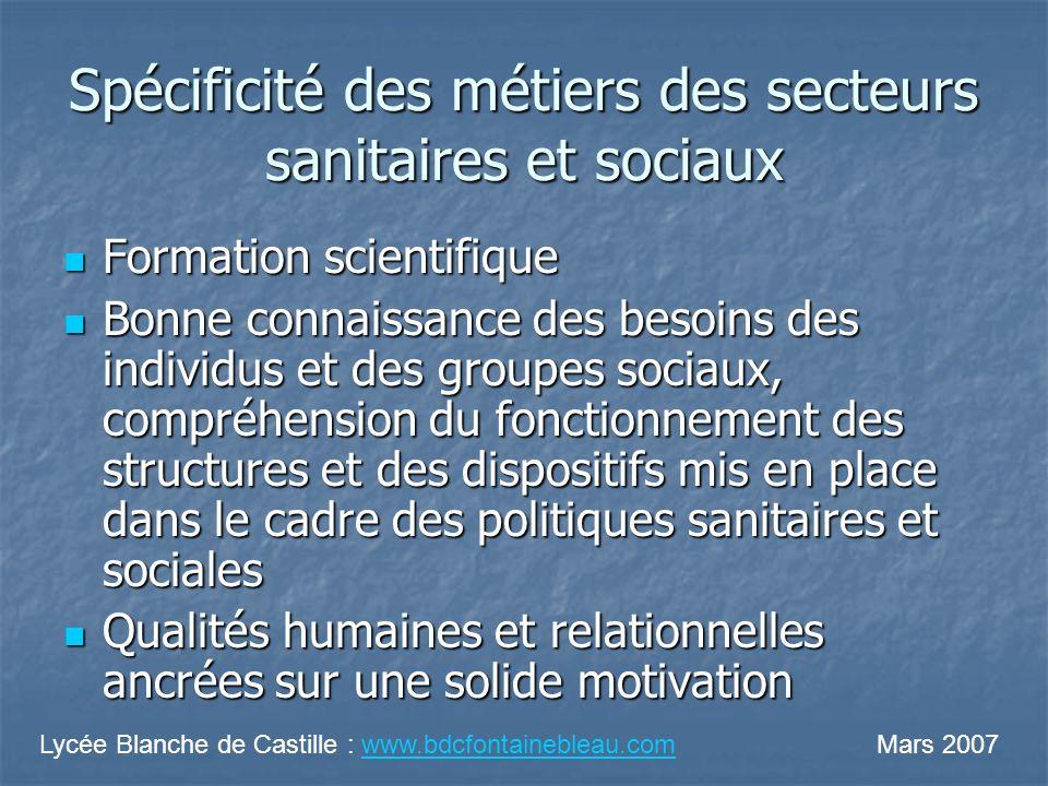 Spécificité des métiers des secteurs sanitaires et sociaux Formation scientifique Formation scientifique Bonne connaissance des besoins des individus