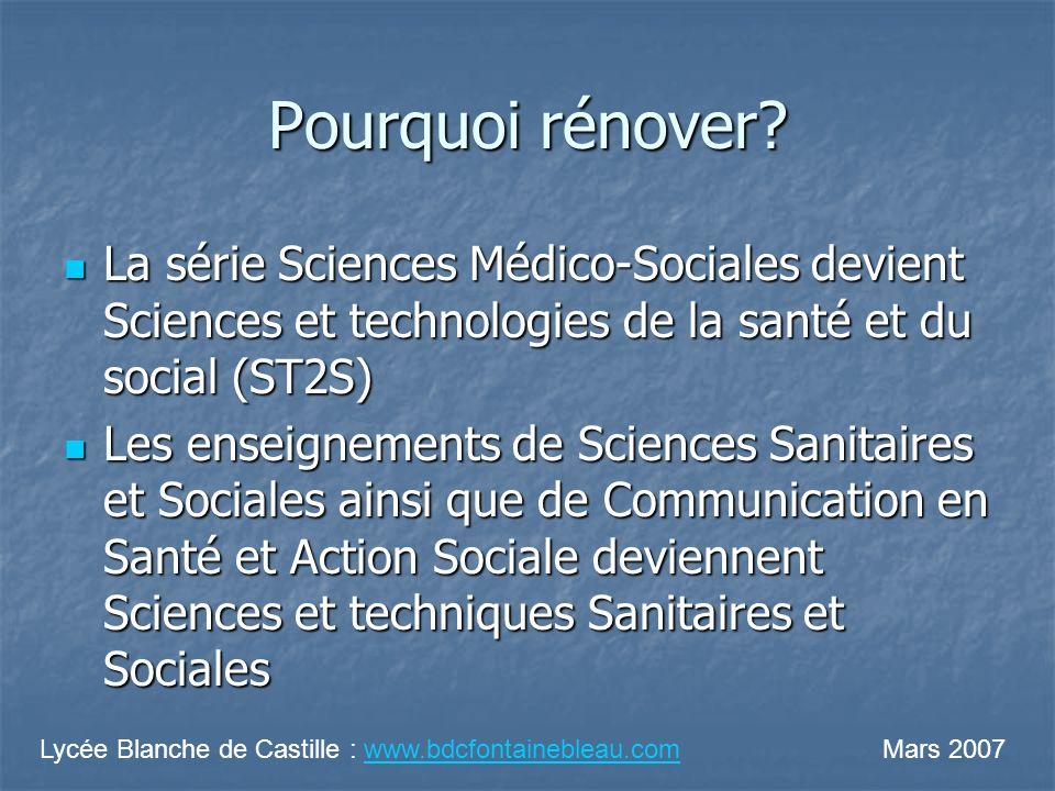 Pourquoi rénover? La série Sciences Médico-Sociales devient Sciences et technologies de la santé et du social (ST2S) La série Sciences Médico-Sociales