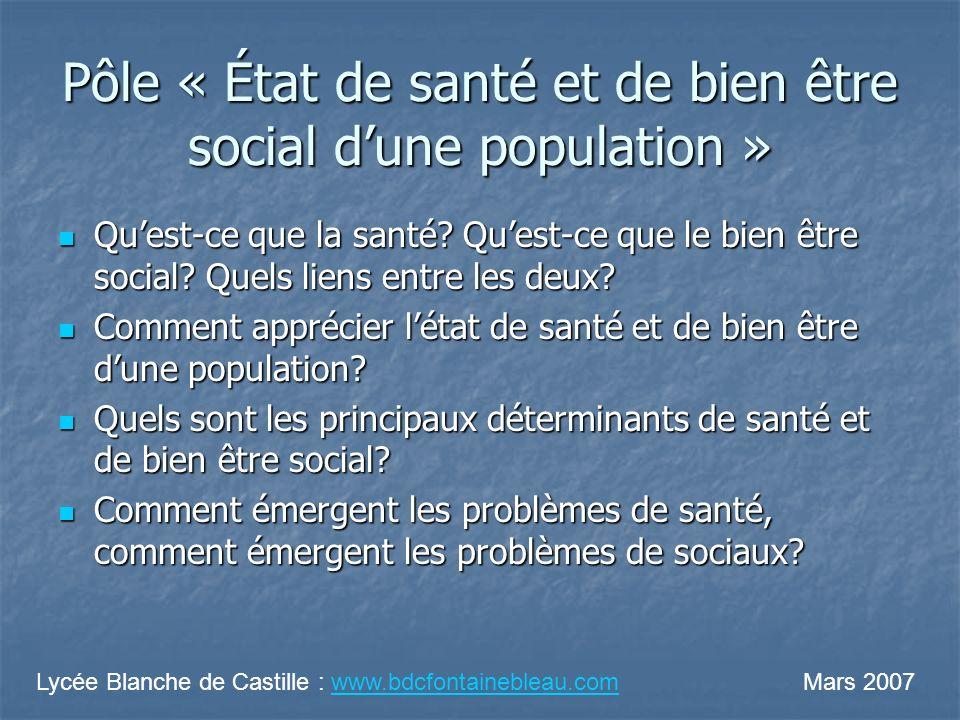Pôle « État de santé et de bien être social dune population » Quest-ce que la santé? Quest-ce que le bien être social? Quels liens entre les deux? Que