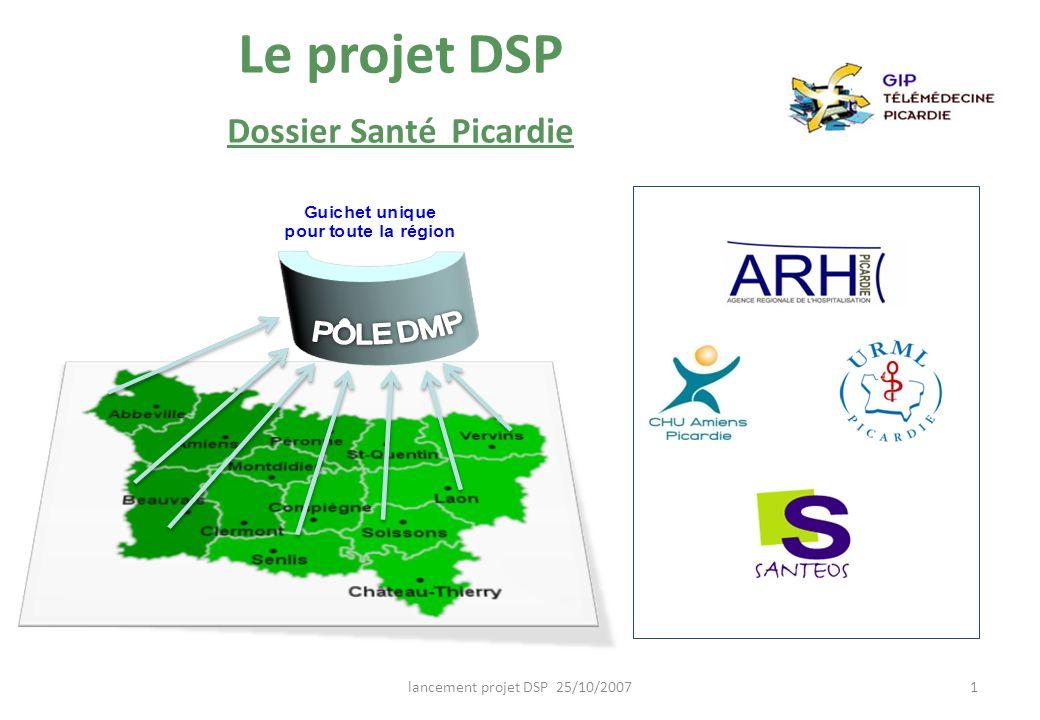 lancement projet DSP 25/10/20071 Le projet DSP Dossier Santé Picardie