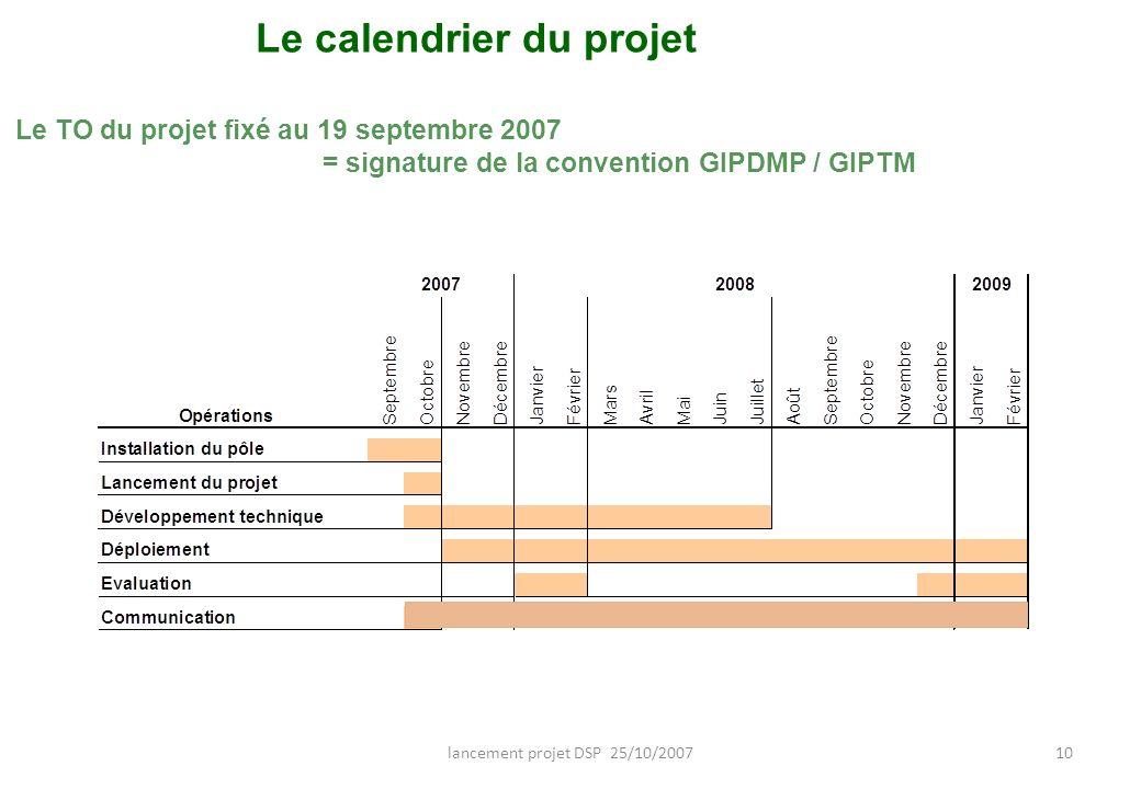 lancement projet DSP 25/10/200710 Le calendrier du projet Le TO du projet fixé au 19 septembre 2007 = signature de la convention GIPDMP / GIPTM