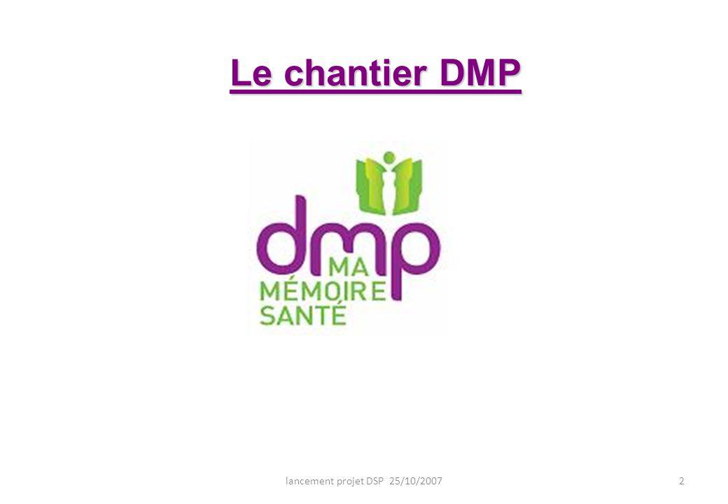 lancement projet DSP 25/10/20072 Le chantier DMP