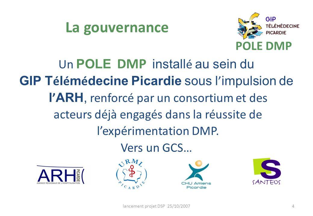 lancement projet DSP 25/10/20074 La gouvernance POLE DMP Un POLE DMP install é au sein du GIP T é l é m é decine Picardie sous l impulsion de l ARH, r