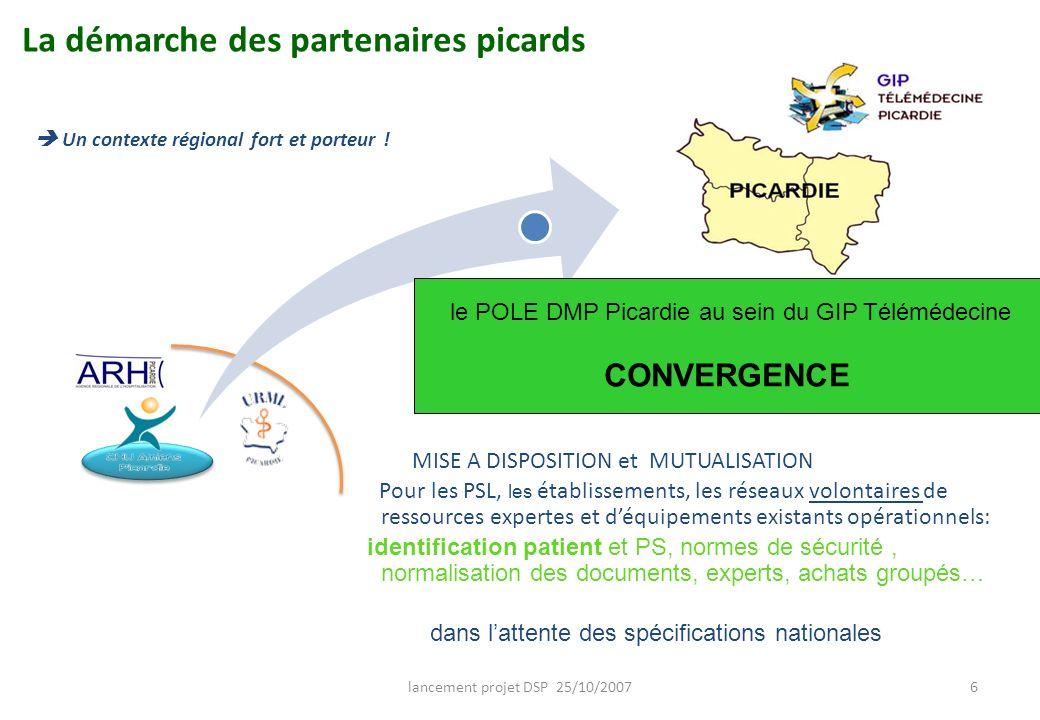 lancement projet DSP 25/10/20076 La démarche des partenaires picards MISE A DISPOSITION et MUTUALISATION Pour les PSL, les établissements, les réseaux