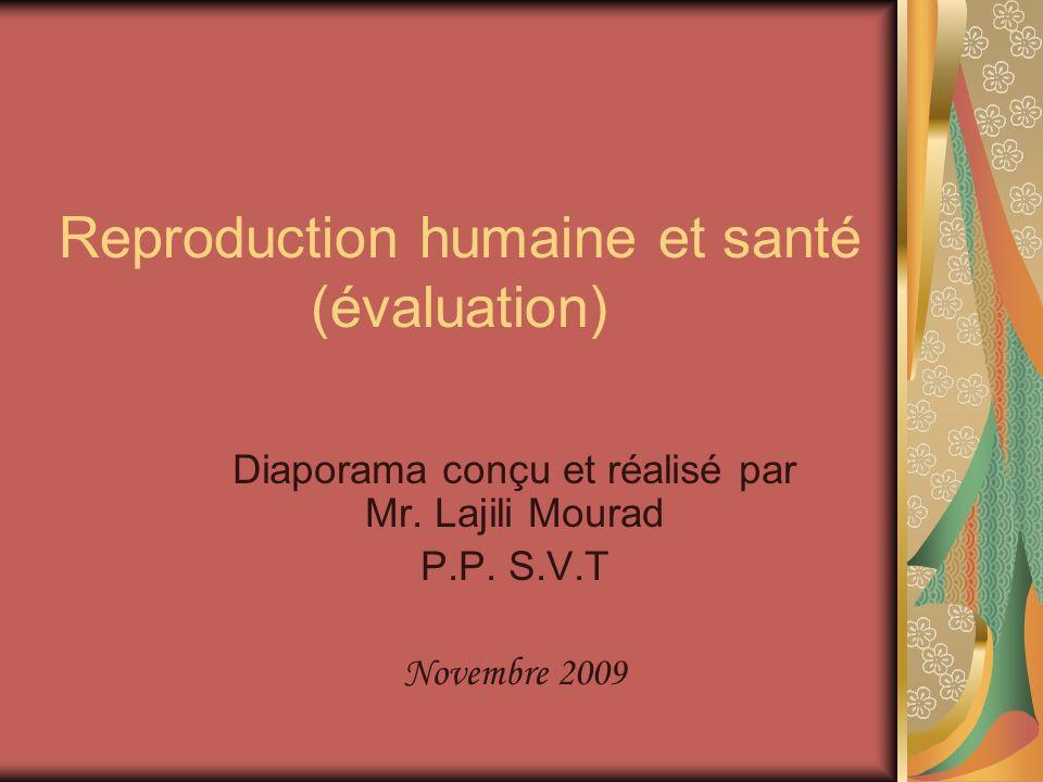 Reproduction humaine et santé (évaluation) Diaporama conçu et réalisé par Mr.