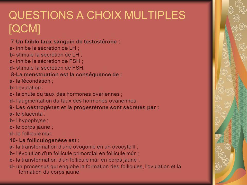 QUESTIONS A CHOIX MULTIPLES [QCM] 7-Un faible taux sanguin de testostérone : a- inhibe la sécrétion de LH ; b- stimule la sécrétion de LH ; c- inhibe la sécrétion de FSH ; d- stimule la sécrétion de FSH.