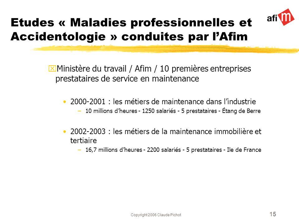 Copyright 2006 Claude Pichot 15 Etudes « Maladies professionnelles et Accidentologie » conduites par lAfim xMinistère du travail / Afim / 10 premières