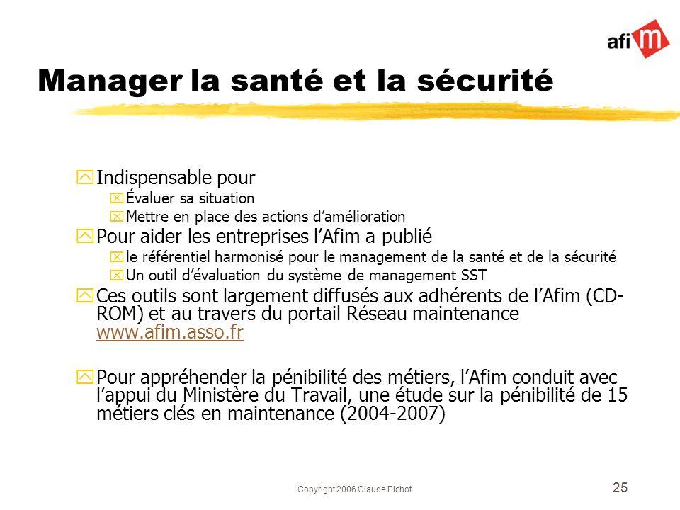 Copyright 2006 Claude Pichot 25 Manager la santé et la sécurité yIndispensable pour xÉvaluer sa situation xMettre en place des actions damélioration y