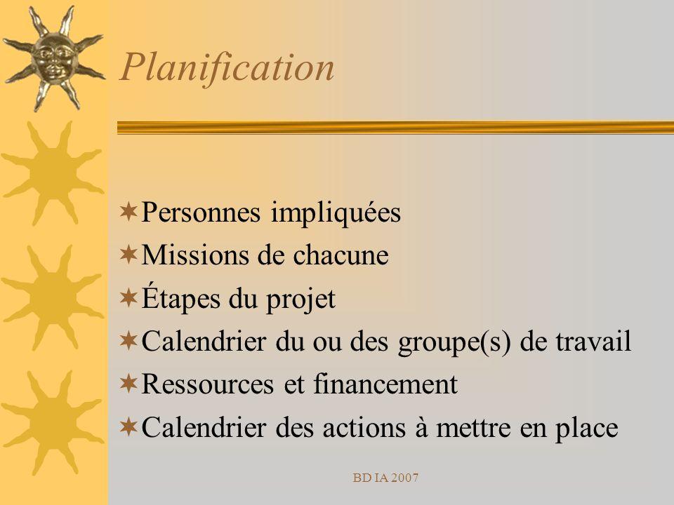 BD IA 2007 Planification Personnes impliquées Missions de chacune Étapes du projet Calendrier du ou des groupe(s) de travail Ressources et financement Calendrier des actions à mettre en place