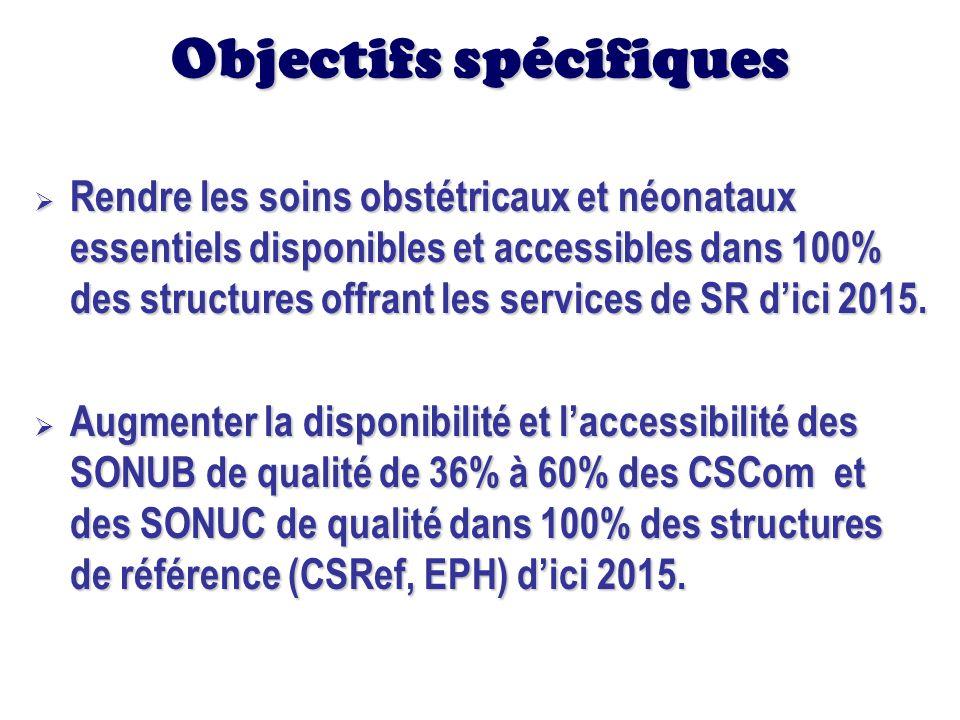 Objectifs spécifiques Rendre les soins obstétricaux et néonataux essentiels disponibles et accessibles dans 100% des structures offrant les services d