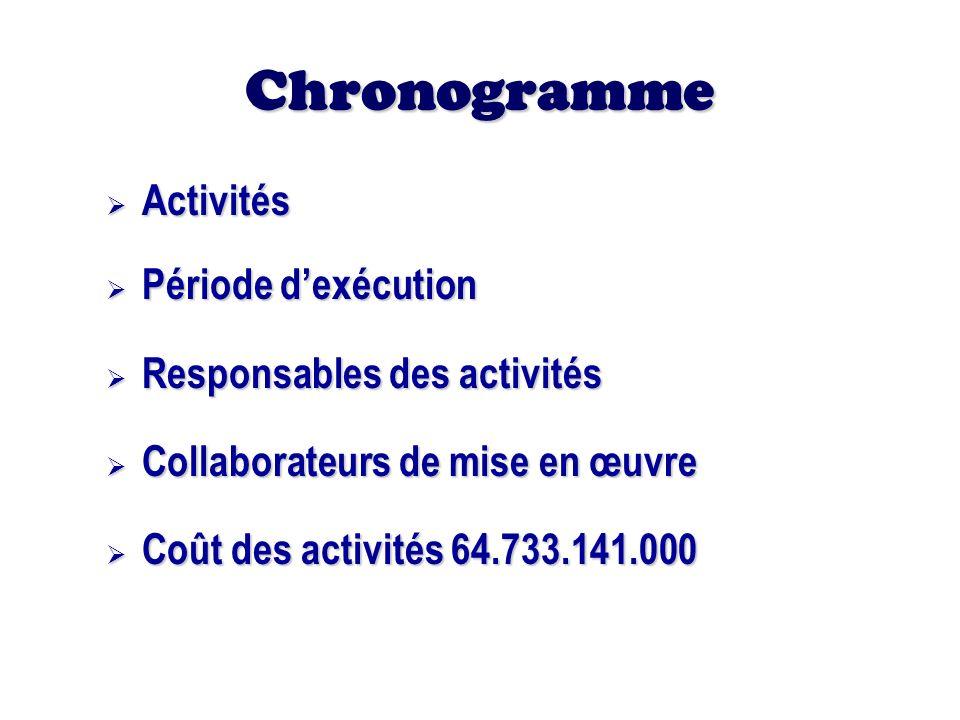 Chronogramme Activités Activités Période dexécution Période dexécution Responsables des activités Responsables des activités Collaborateurs de mise en