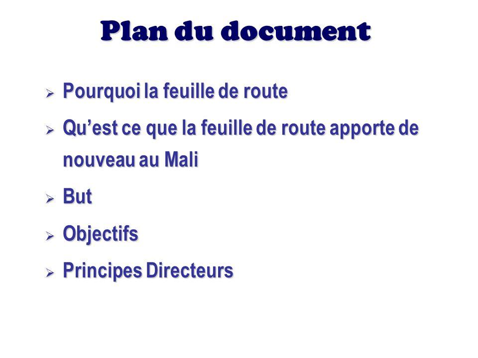 Plan du document Pourquoi la feuille de route Pourquoi la feuille de route Quest ce que la feuille de route apporte de nouveau au Mali Quest ce que la