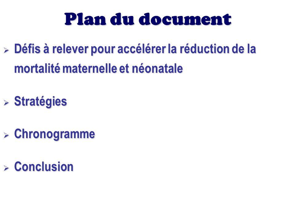 Plan du document Défis à relever pour accélérer la réduction de la mortalité maternelle et néonatale Défis à relever pour accélérer la réduction de la