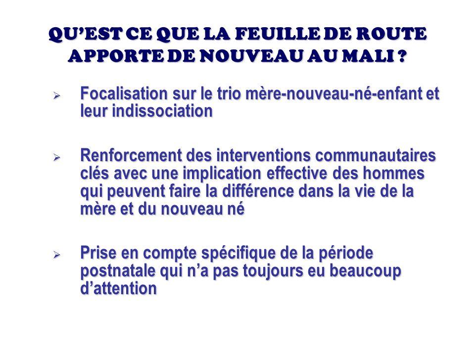 But La feuille de route du Mali a pour but daccélérer la réduction de la morbidité et de la mortalité maternelles et néonatales afin de contribuer à latteinte des objectifs du millénaire pour le développement relatifs à la santé maternelle et néonatale.
