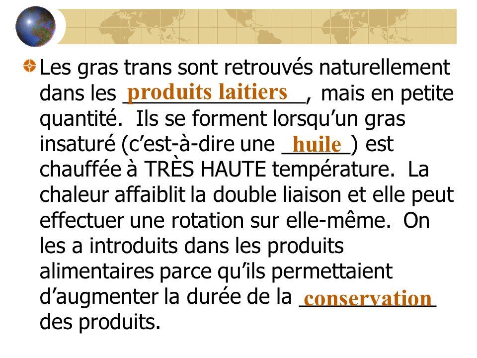 Les gras trans sont retrouvés naturellement dans les ________________, mais en petite quantité. Ils se forment lorsquun gras insaturé (cest-à-dire une