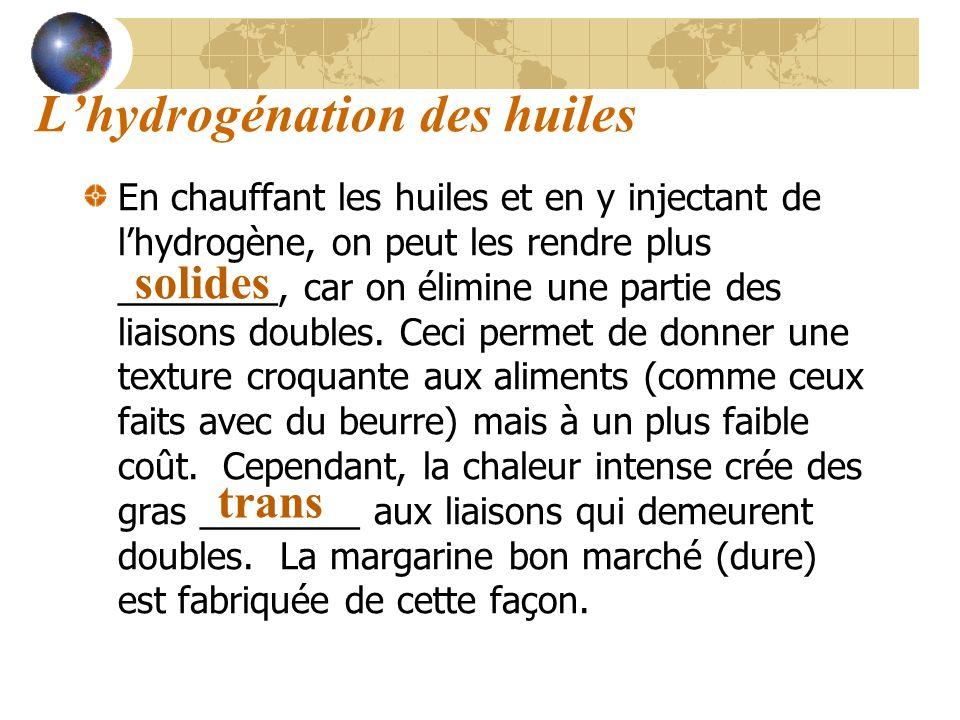 Lhydrogénation des huiles En chauffant les huiles et en y injectant de lhydrogène, on peut les rendre plus ________, car on élimine une partie des lia