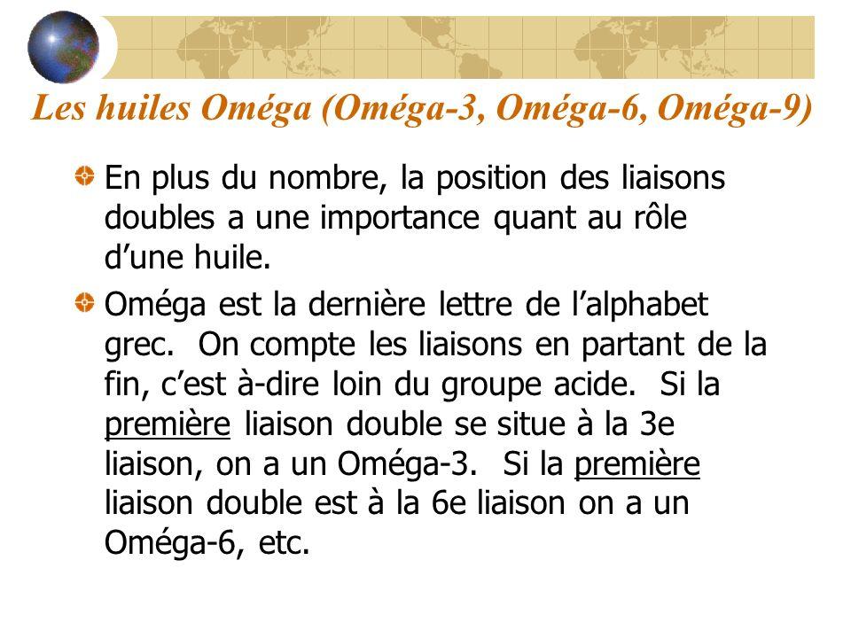 Les huiles Oméga (Oméga-3, Oméga-6, Oméga-9) En plus du nombre, la position des liaisons doubles a une importance quant au rôle dune huile. Oméga est