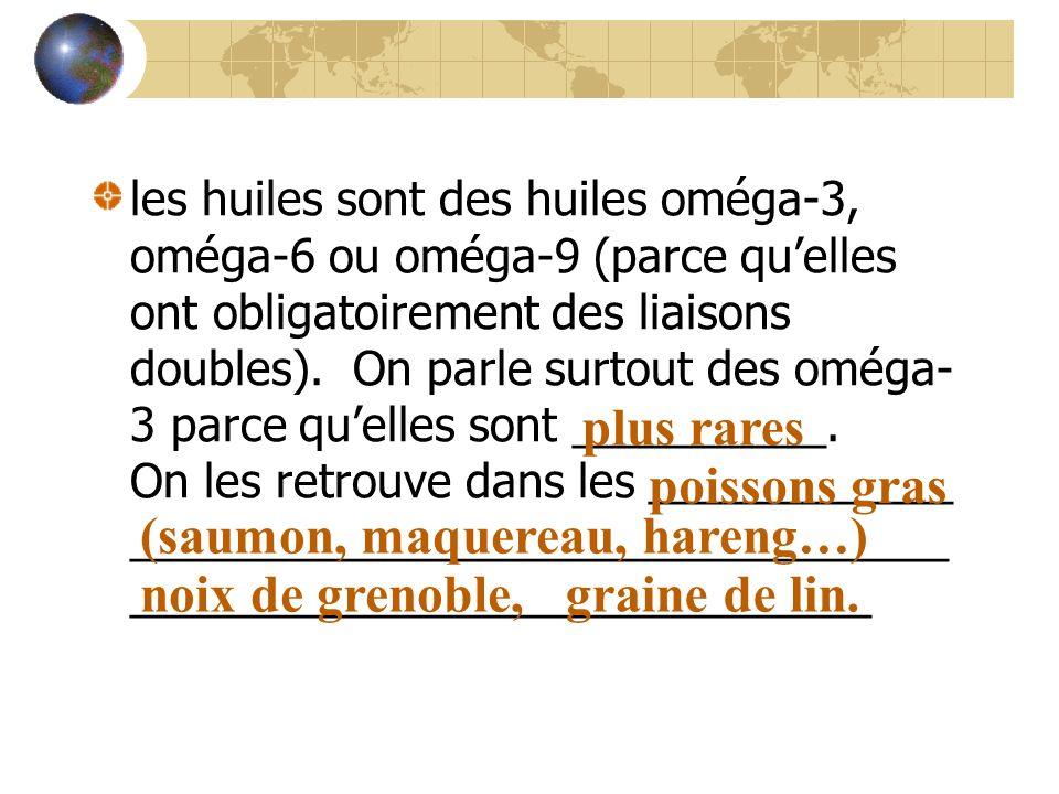 les huiles sont des huiles oméga-3, oméga-6 ou oméga-9 (parce quelles ont obligatoirement des liaisons doubles). On parle surtout des oméga- 3 parce q