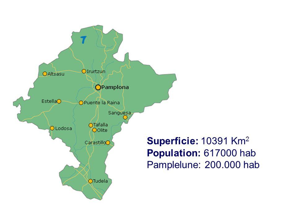 Superficie: 10391 Km 2 Population: 617000 hab Pamplelune: 200.000 hab
