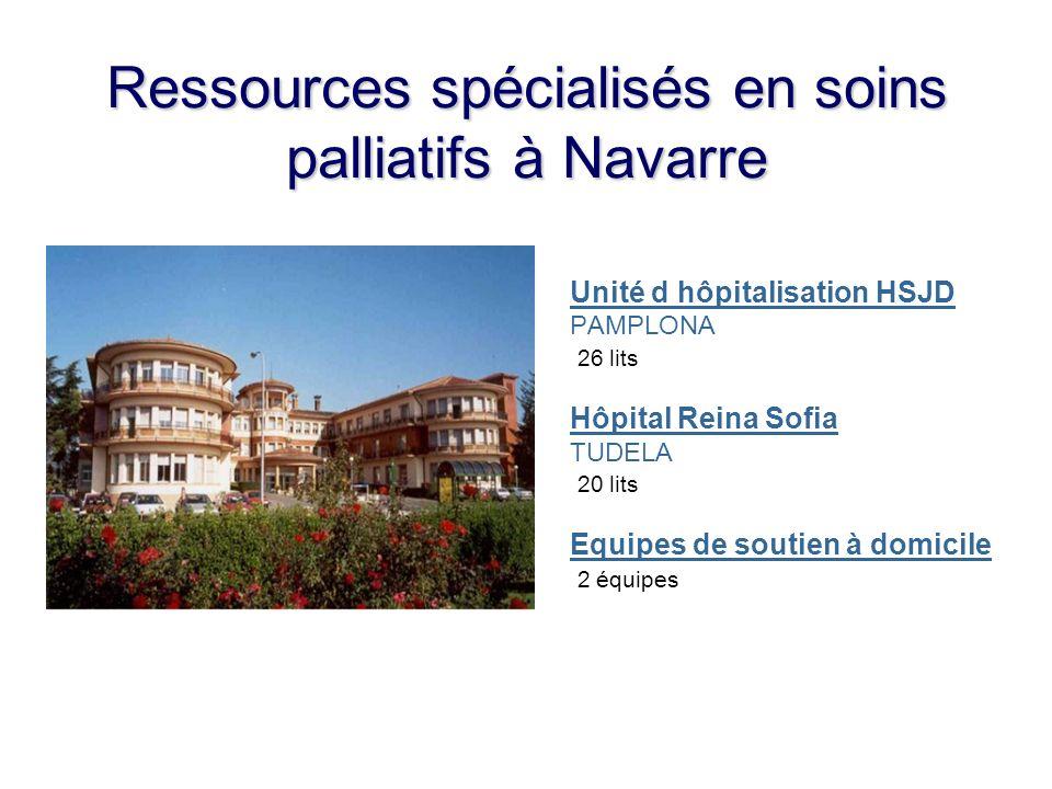 Ressources spécialisés en soins palliatifs à Navarre Unité d hôpitalisation HSJD PAMPLONA 26 lits Hôpital Reina Sofia TUDELA 20 lits Equipes de soutie