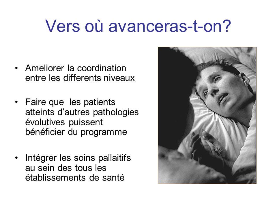 Vers où avanceras-t-on? Ameliorer la coordination entre les differents niveaux Faire que les patients atteints dautres pathologies évolutives puissent