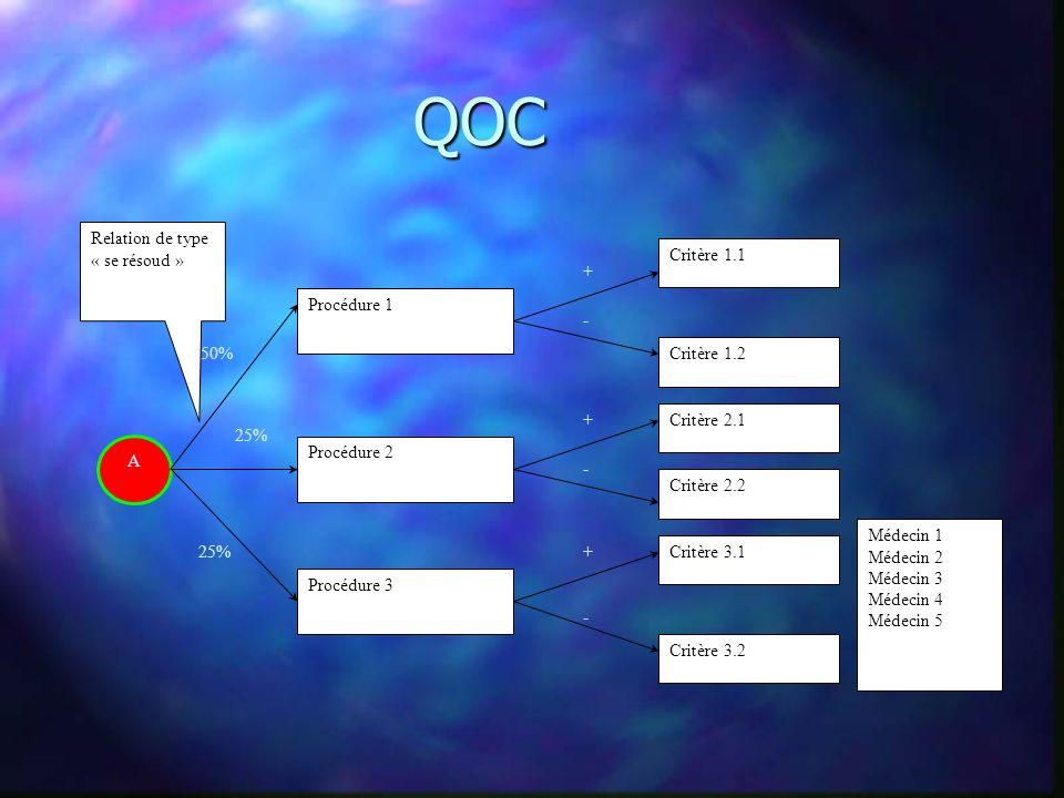 QOC A Procédure 1 Procédure 2 Procédure 3 Critère 1.1 Critère 1.2 Critère 2.1 Critère 3.1 Critère 3.2 Critère 2.2 + - + - + - 50% 25% Relation de type