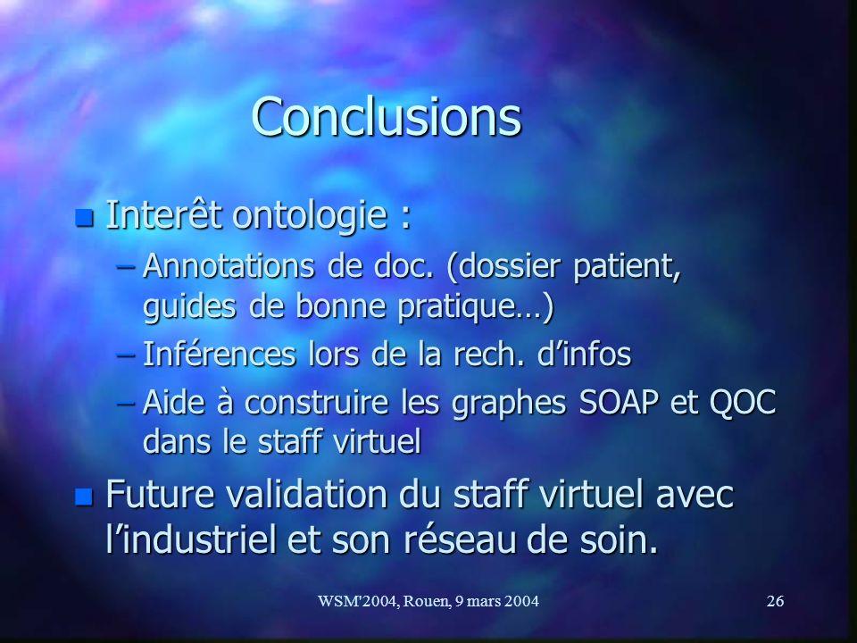 WSM'2004, Rouen, 9 mars 200426 Conclusions n Interêt ontologie : –Annotations de doc. (dossier patient, guides de bonne pratique…) –Inférences lors de