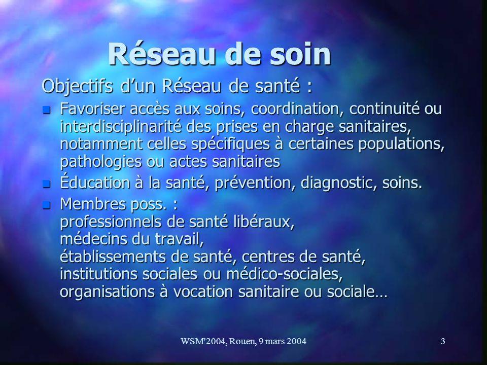 WSM'2004, Rouen, 9 mars 20043 Réseau de soin Objectifs dun Réseau de santé : n Favoriser accès aux soins, coordination, continuité ou interdisciplinar