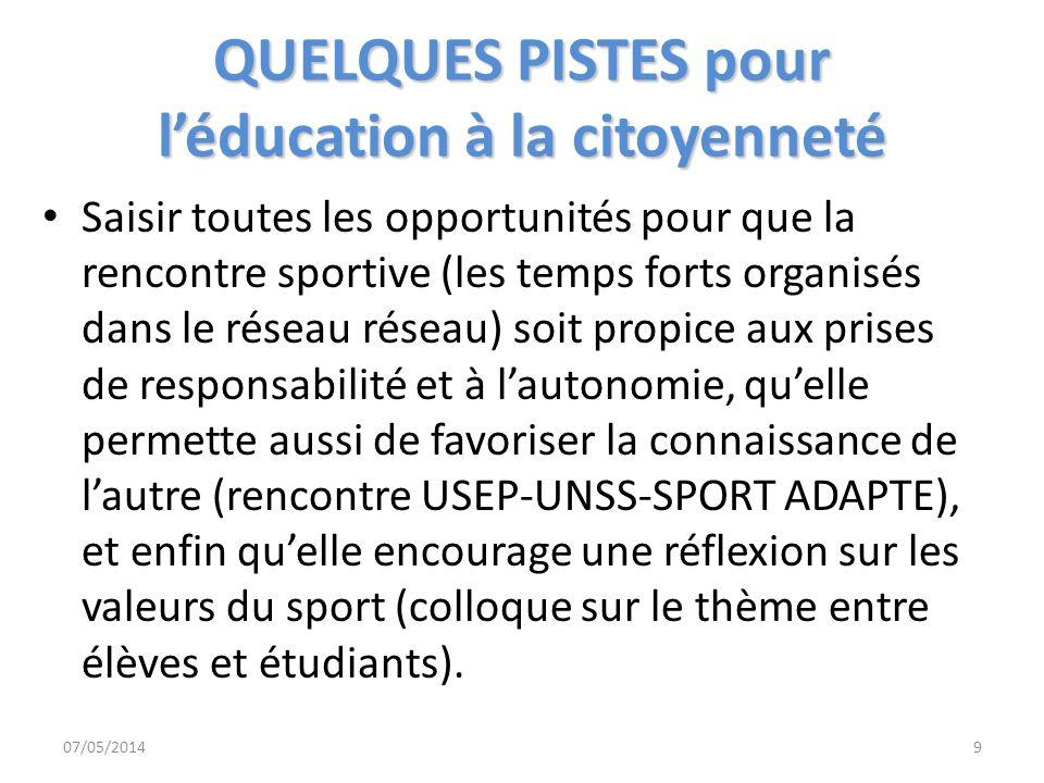 QUELQUES PISTES pour léducation à la citoyenneté Saisir toutes les opportunités pour que la rencontre sportive (les temps forts organisés dans le rése