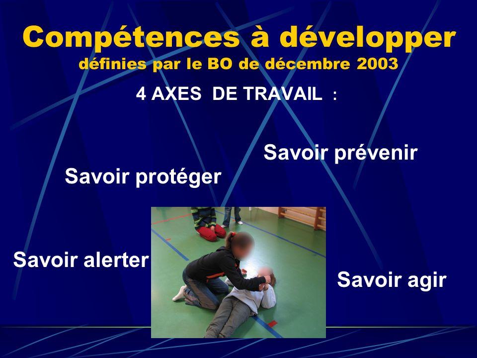 Compétences à développer définies par le BO de décembre 2003 4 AXES DE TRAVAIL : Savoir prévenir Savoir protéger Savoir alerter Savoir agir