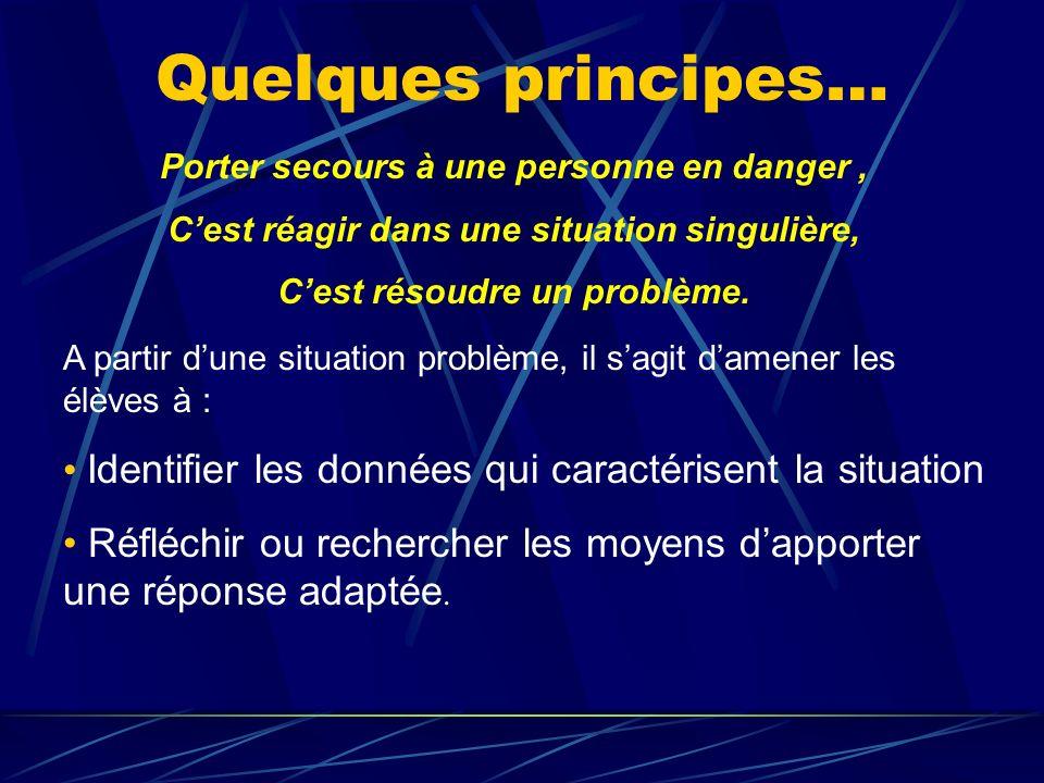 Quelques principes… Porter secours à une personne en danger, Cest réagir dans une situation singulière, Cest résoudre un problème. A partir dune situa