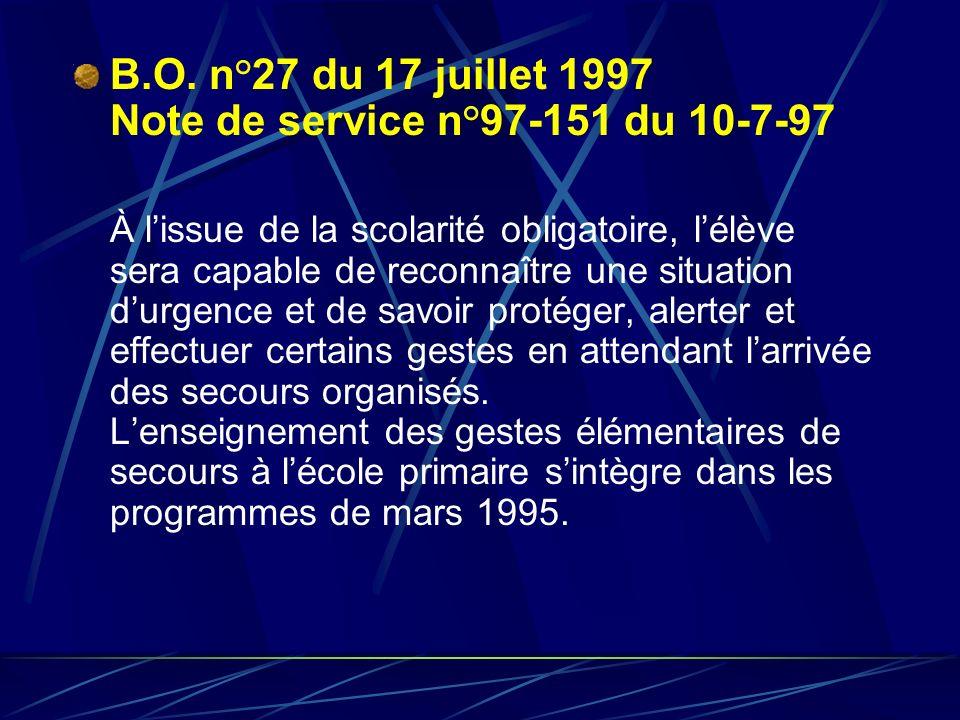 BO n° 40 du 31 octobre 2002 La sécurité routière reprend dans ses objectifs la mise en œuvre par lélève des règles élémentaires des premiers secours Extraits de lA.P.E.R.