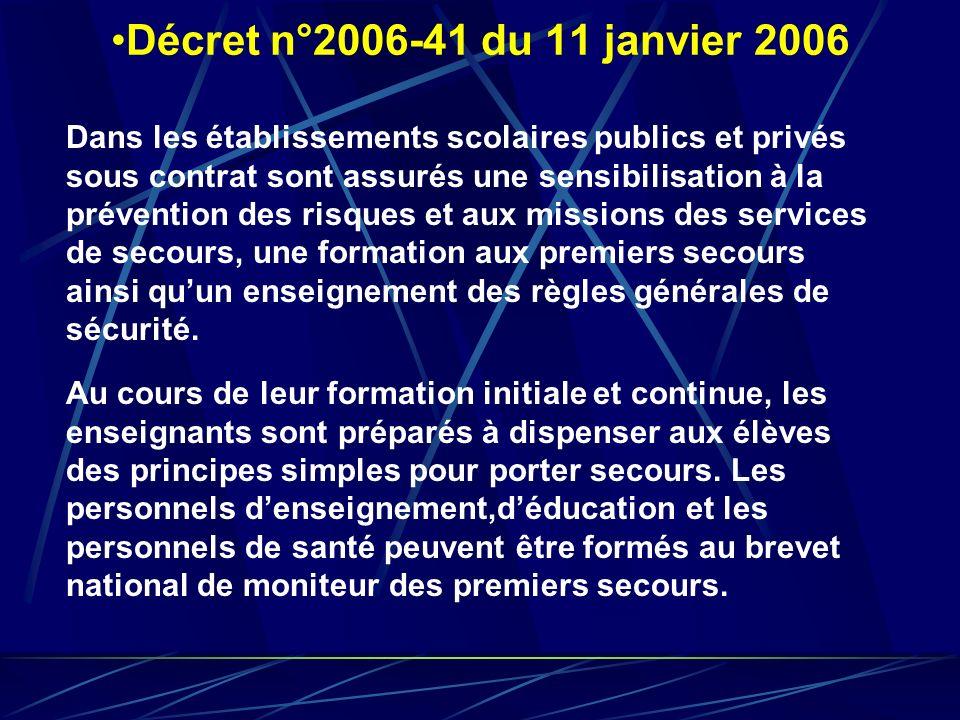 Décret n°2006-41 du 11 janvier 2006 Au cours de leur formation initiale et continue, les enseignants sont préparés à dispenser aux élèves des principe
