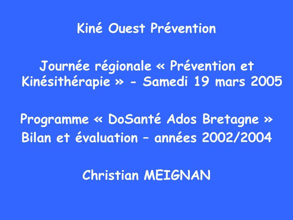 Kiné Ouest Prévention Journée régionale « Prévention et Kinésithérapie » - Samedi 19 mars 2005 Programme « DoSanté Ados Bretagne » Bilan et évaluation