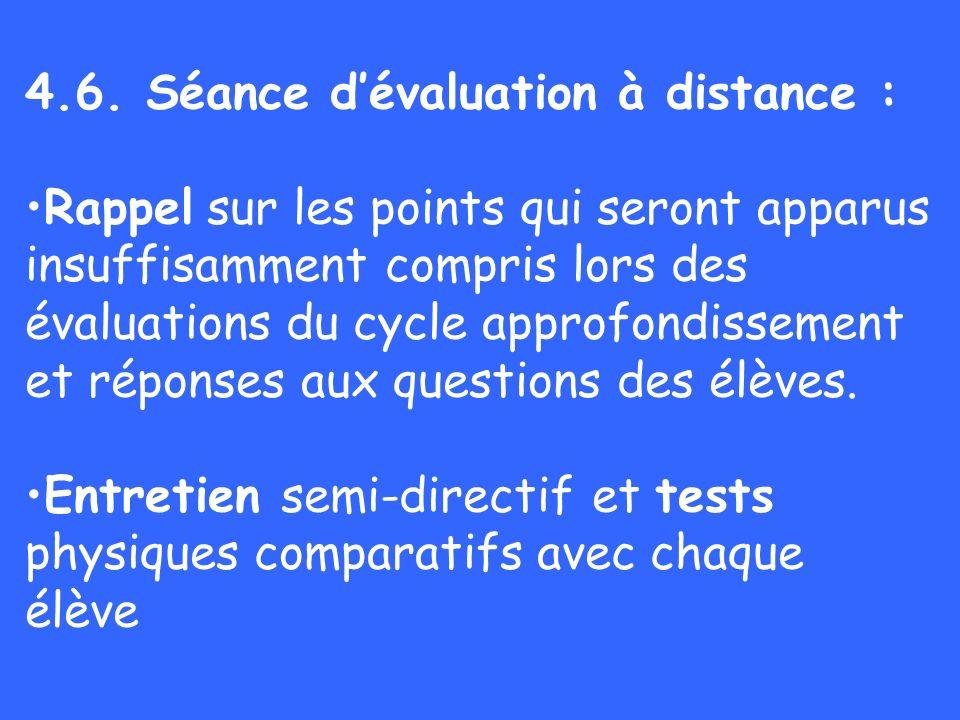 4.6. Séance dévaluation à distance : Rappel sur les points qui seront apparus insuffisamment compris lors des évaluations du cycle approfondissement e