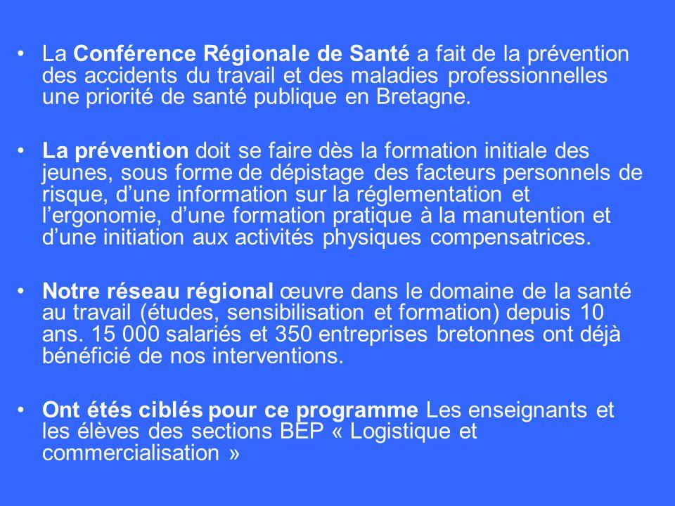La Conférence Régionale de Santé a fait de la prévention des accidents du travail et des maladies professionnelles une priorité de santé publique en B