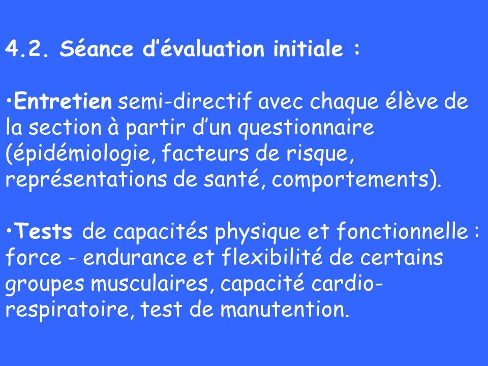 4.2. Séance dévaluation initiale : Entretien semi-directif avec chaque élève de la section à partir dun questionnaire (épidémiologie, facteurs de risq