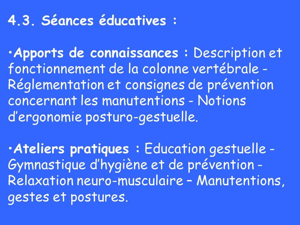 4.3. Séances éducatives : Apports de connaissances : Description et fonctionnement de la colonne vertébrale - Réglementation et consignes de préventio