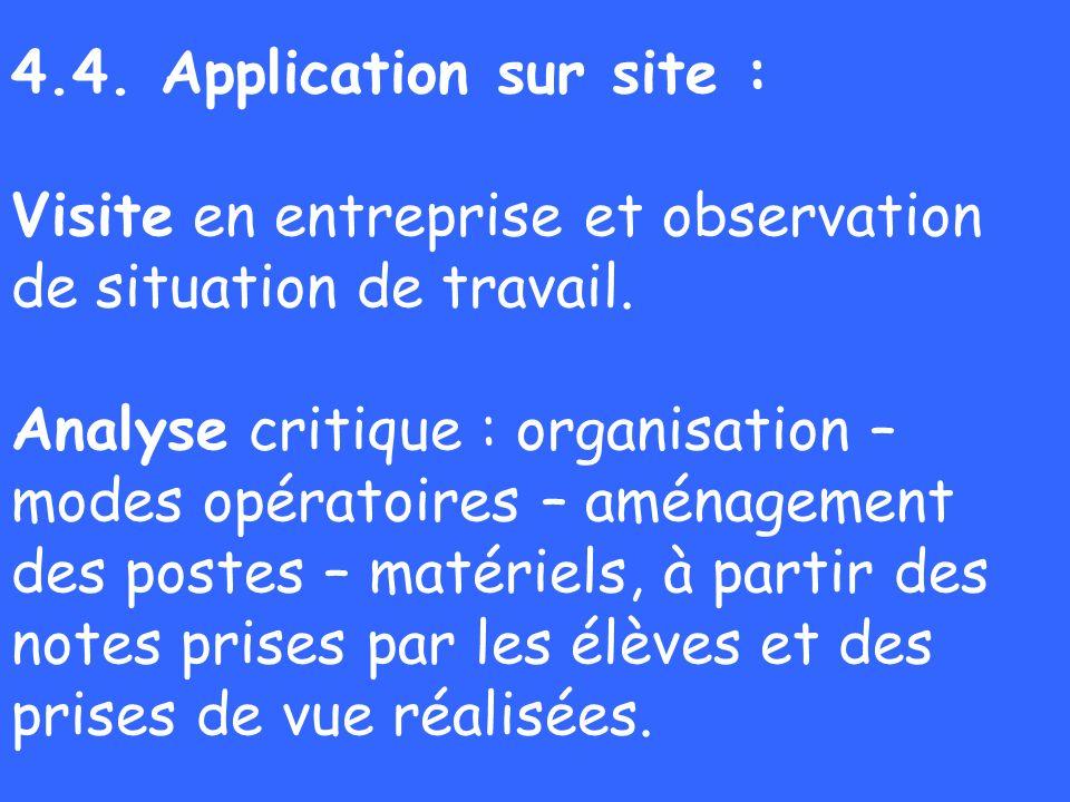 4.4. Application sur site : Visite en entreprise et observation de situation de travail. Analyse critique : organisation – modes opératoires – aménage