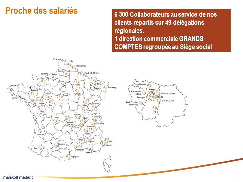 4 Proche des salariés 6 300 Collaborateurs au service de nos clients répartis sur 49 délégations régionales. 1 direction commerciale GRANDS COMPTES re