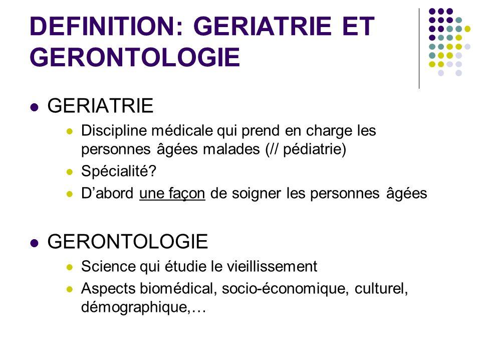 DEFINITION: GERIATRIE ET GERONTOLOGIE GERIATRIE Discipline médicale qui prend en charge les personnes âgées malades (// pédiatrie) Spécialité? Dabord