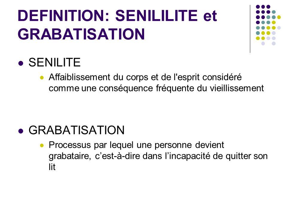 DEFINITION: SENILILITE et GRABATISATION SENILITE Affaiblissement du corps et de l'esprit considéré comme une conséquence fréquente du vieillissement G